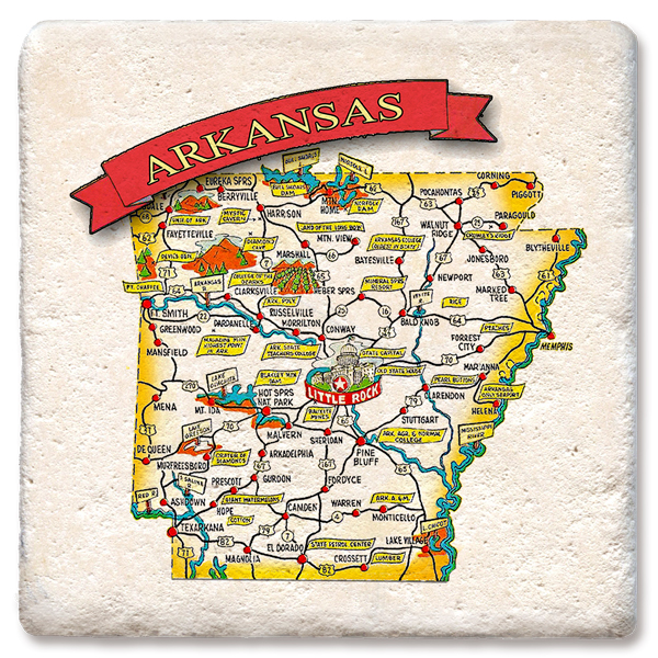 Arkansas Map Tipsy Coasters