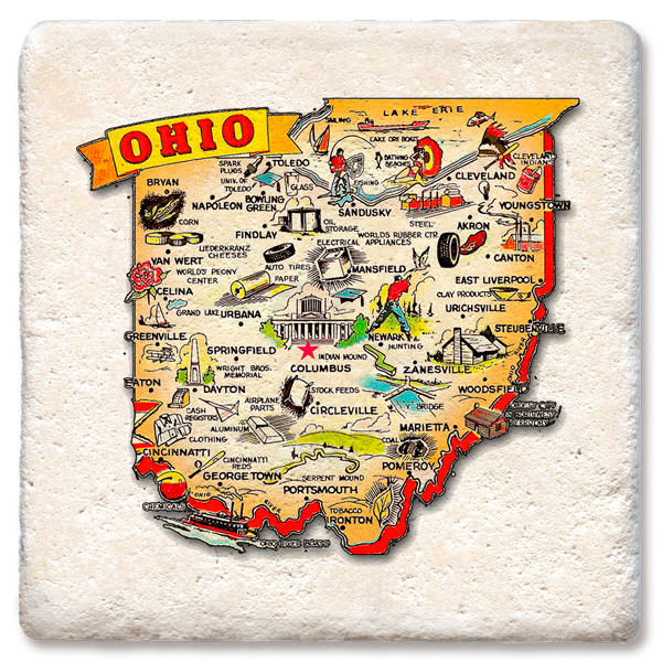 Ohio Map Tipsy Coasters